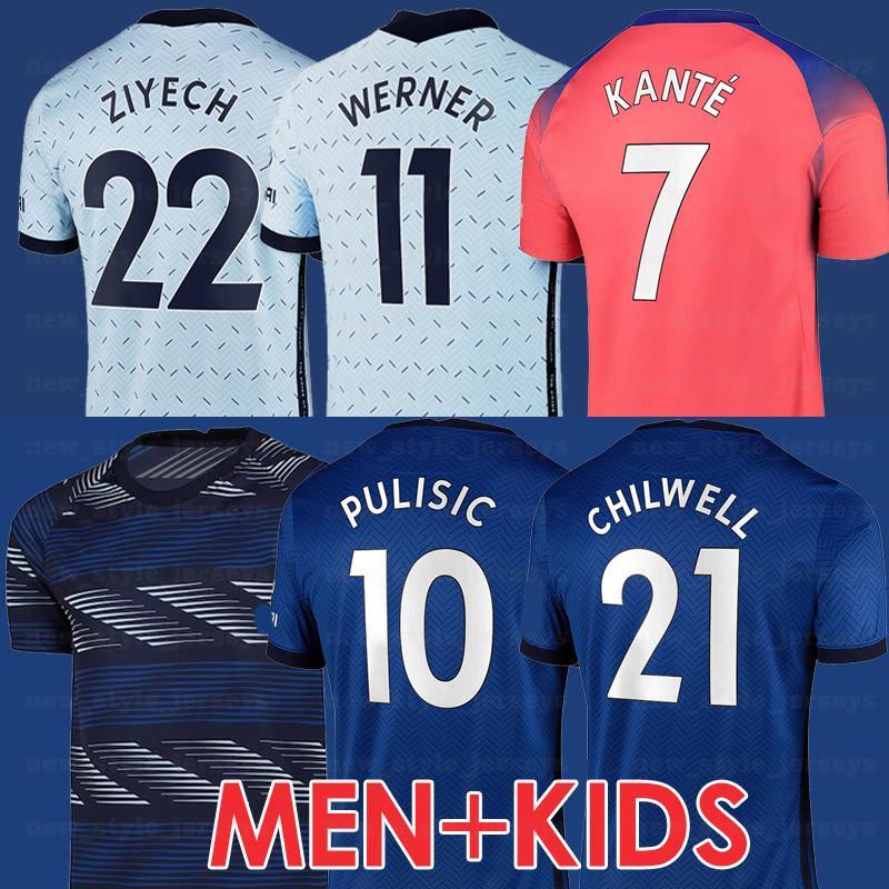 20 21 T.Silva Jerseys Werner Ziyech Kante Kante Shirt de football pulatisique Willian Hommes CFCSocCer Abraham Kids Kit Jersey