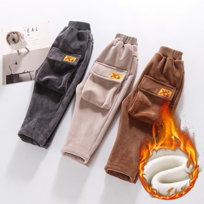 Casual Baby Boys Girls Pantalones de invierno Espesar niños Niños Fleece Pantalones cálidos Solid Cargo Boys Joggers Leggings Ropa para niños C1031