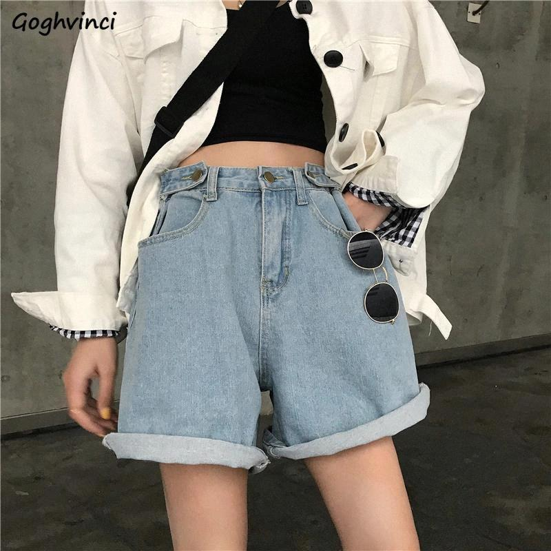 Pantaloncini da donna Plus-size 5xL solido flangiatura a vita alta a vita bassa sciolta causa corta denim pantaloni femminili A-Line A-Line Gamba larga Ulzzang # KK8X