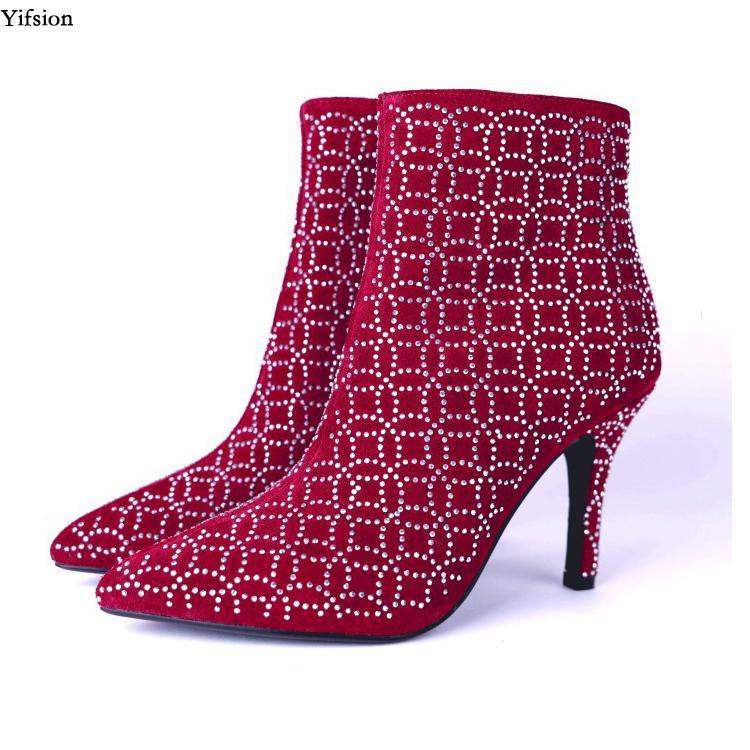 Botas Olomm Olomm Winter Crystal Tobillo Sexy delgado tacón alto punteado Toe Ladies Negro Rojo Partido Zapatos Tamaño 3-10.5