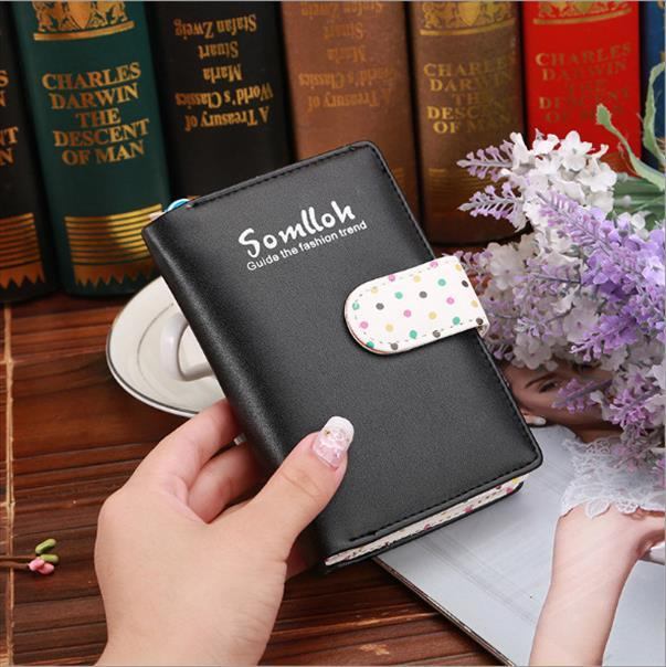 Leather Polka For Colors Women Laddies Candy Dots Zipper New Small Fashion Purse Cards Holder Wallets Girls Women Wallet Vjuxx