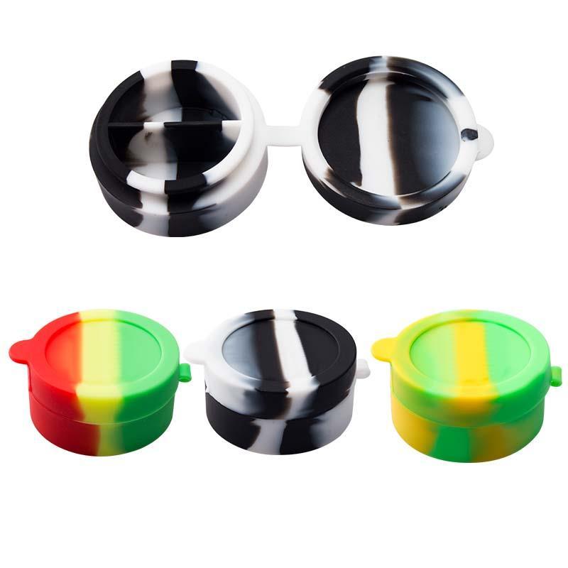 Vaping_Dream Si012 Metade e Meio Recipiente de Silicone Jar 10ml Capacidade de Vidro Bongo Tubos Tobacco Cera Silicone Jar
