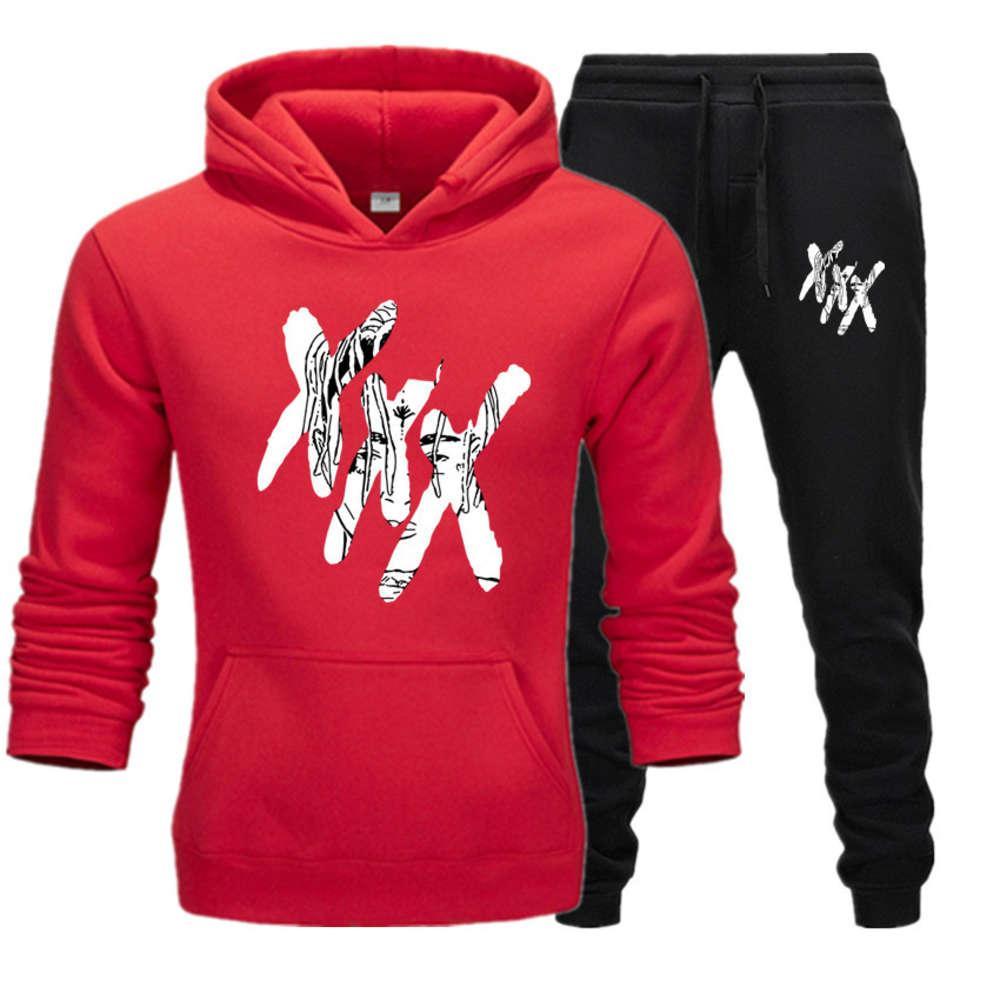 Hit Rap Singer XXTANTACION uomo e donna Trend Street Trend Peluche con cappuccio Set maglione