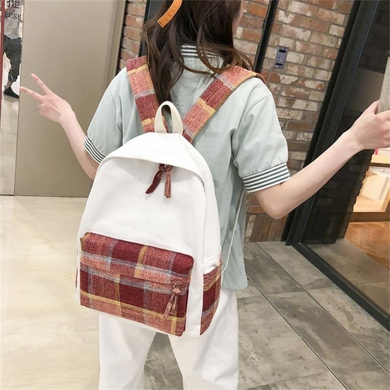 Nouvelles femmes Sac à dos rétro école étudiante adolescente Sac à dos Sac à dos à bandoulière grande capacité Bagpack Y201224