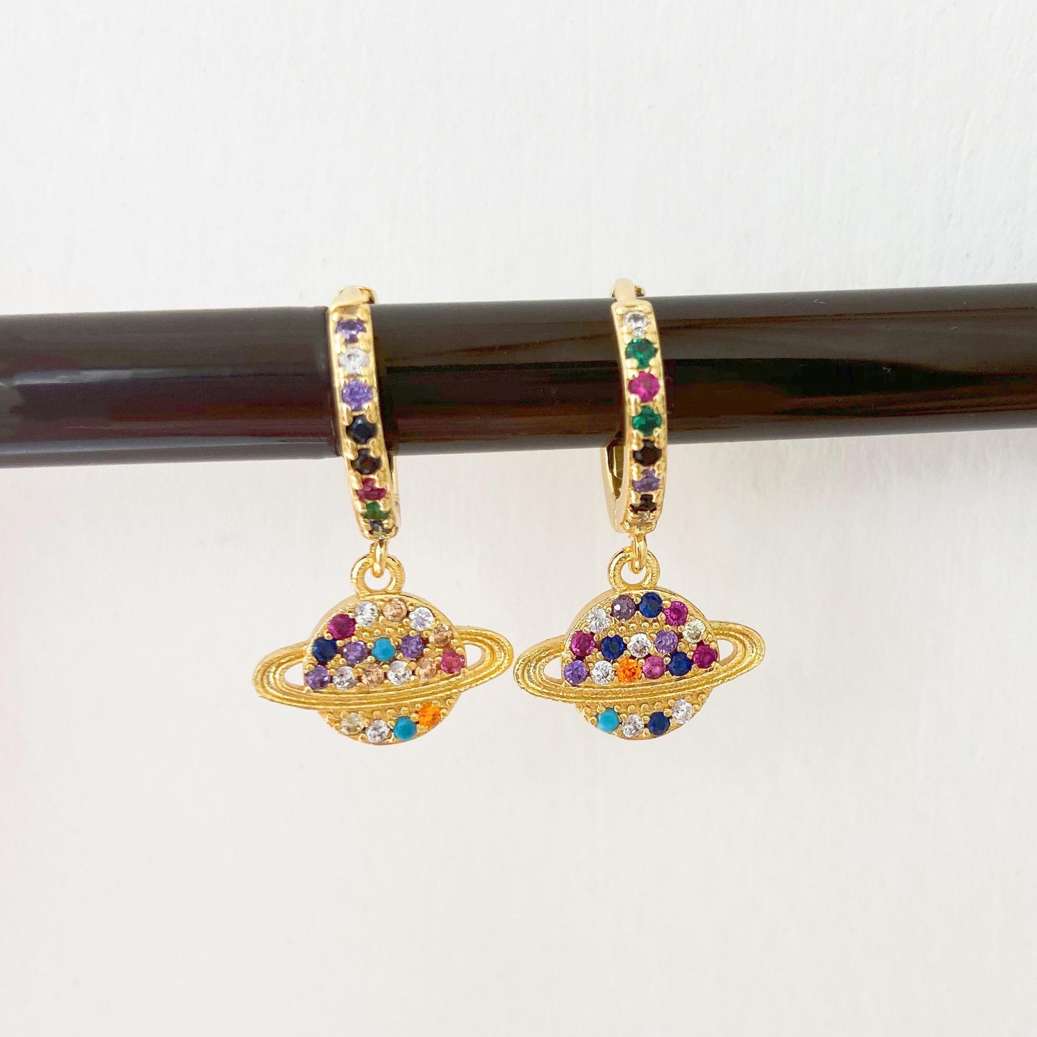 Hecheng 1pair Brincos terra minúsculas Atacado Arco-íris colorido colar CZ Studs Moda jóias de ouro por Mulheres