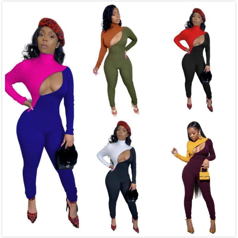 Designer Frauen Jumpsuit Sexy Langarm Nähte Kontrast Strampler Mode Slim Aushöhlen Lange Hose Einteiler Kleidung Neu 2021