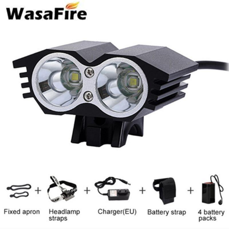 Waterproof 3000lm Bike Front Light 2* T6 Bicycle Headlight Cycling with Rechargeable 4 * 18650 Battery Pack + Charger