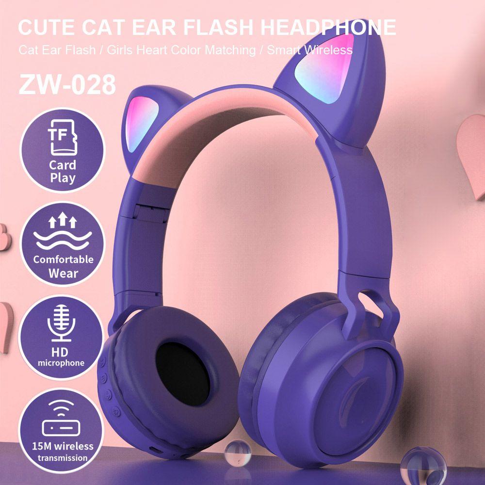 docooler Wireless Bluetooth Headset glühender Katze-Ohr-Kopfhörer Musik Kopfhörer Freihändige mit Mic für Desktop-Laptop Telefon ZW-028