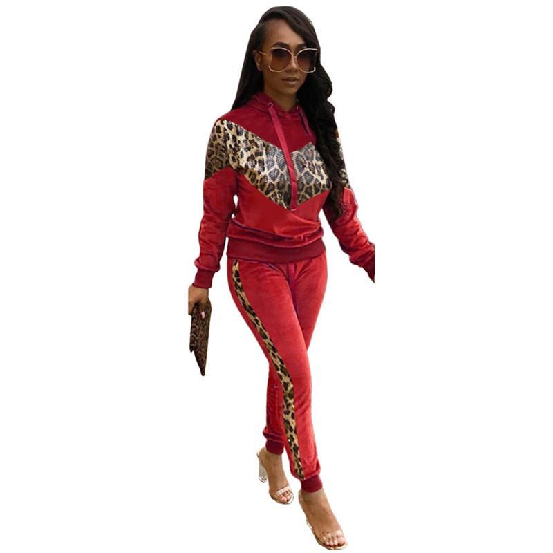 Moda Kadın Kasetli İki Adet Pantolon Casual Kapşonlu Tasarımcı İki Parça Setler Leopar Baskılı Bayan Kapüşonlular Giyim