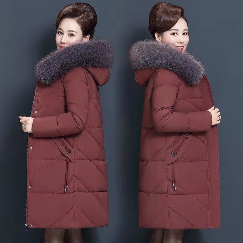 Tamaño más abajo 7xl envejecido centro collar Las mujeres con capucha chaqueta de piel Parka larga de algodón para mujer de invierno y del escudo