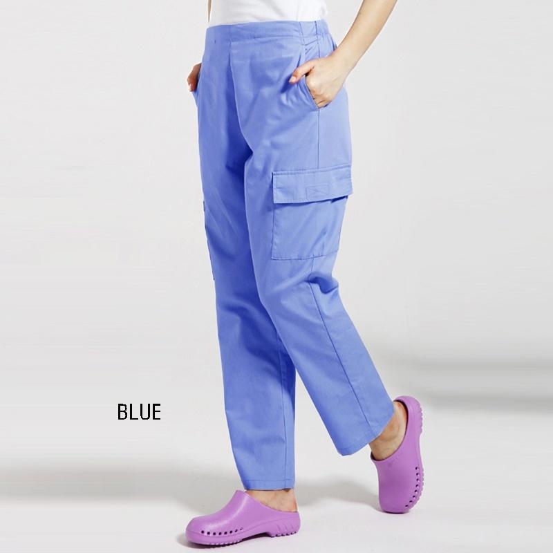 Frauen Männer Kordelzug Scrubs Hosen sechs Taschen Medizinische Uniformen Doktor Nurse Arbeitskleidung elastische Taille Scrub Bottoms Baumwolle