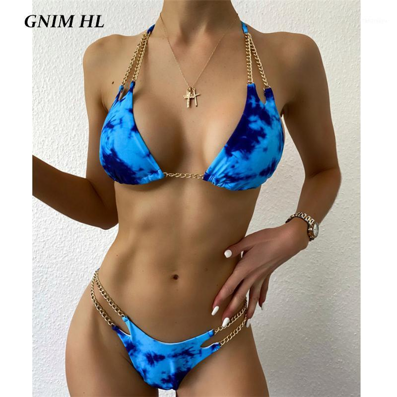 GNIM Sexy Solid Bikini Swimwear Women 2020 Summer Beachwear Chain Swimsuit Two Piece Backless High Cut Swim Bathing Suit Biquini1