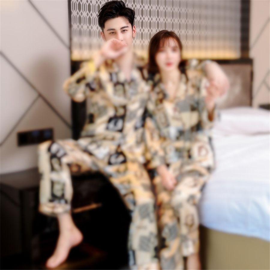 Оптовые - зимние женские мужские пары шелка пижамы костюмы набор отвороты сплошной с длинным рукавом китайский дракон печать Pijamas Pajamas Sleekwuras # 79711111
