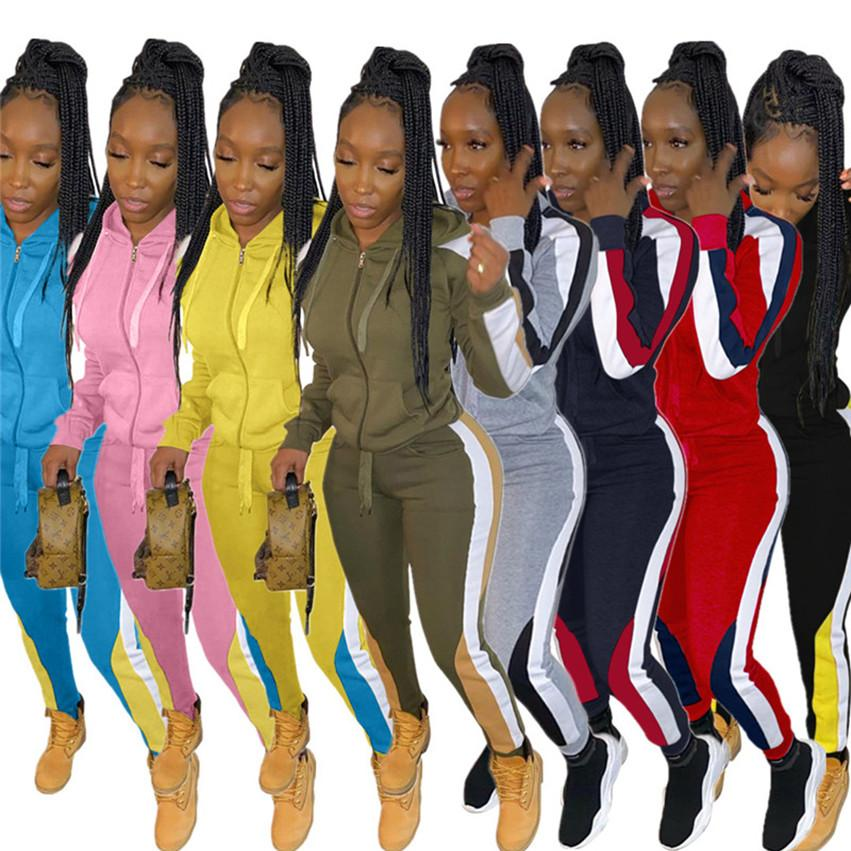 Women 2 Piece set outfits panelled jogger suit jacket Pants Casual tracksuit S-3XL outerwear Legging Sportswear fall winter sweatsuits 4077