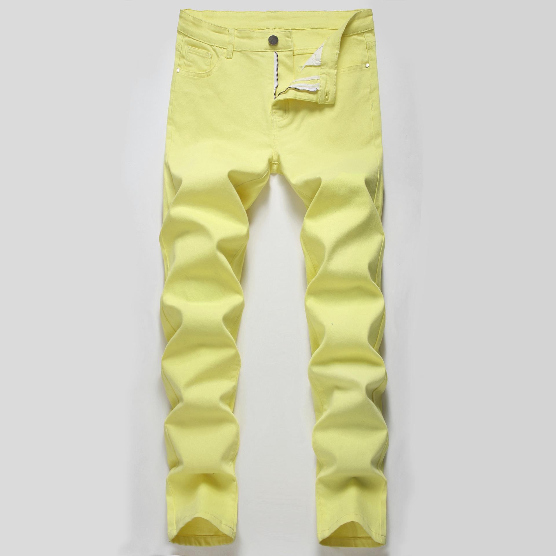 Sıska Erkek Kot Sarı Serin Erkekler Kot Streç Slim Fit Denim Biker Jeans Hip Hop Erkekler Streetwear 1515 #