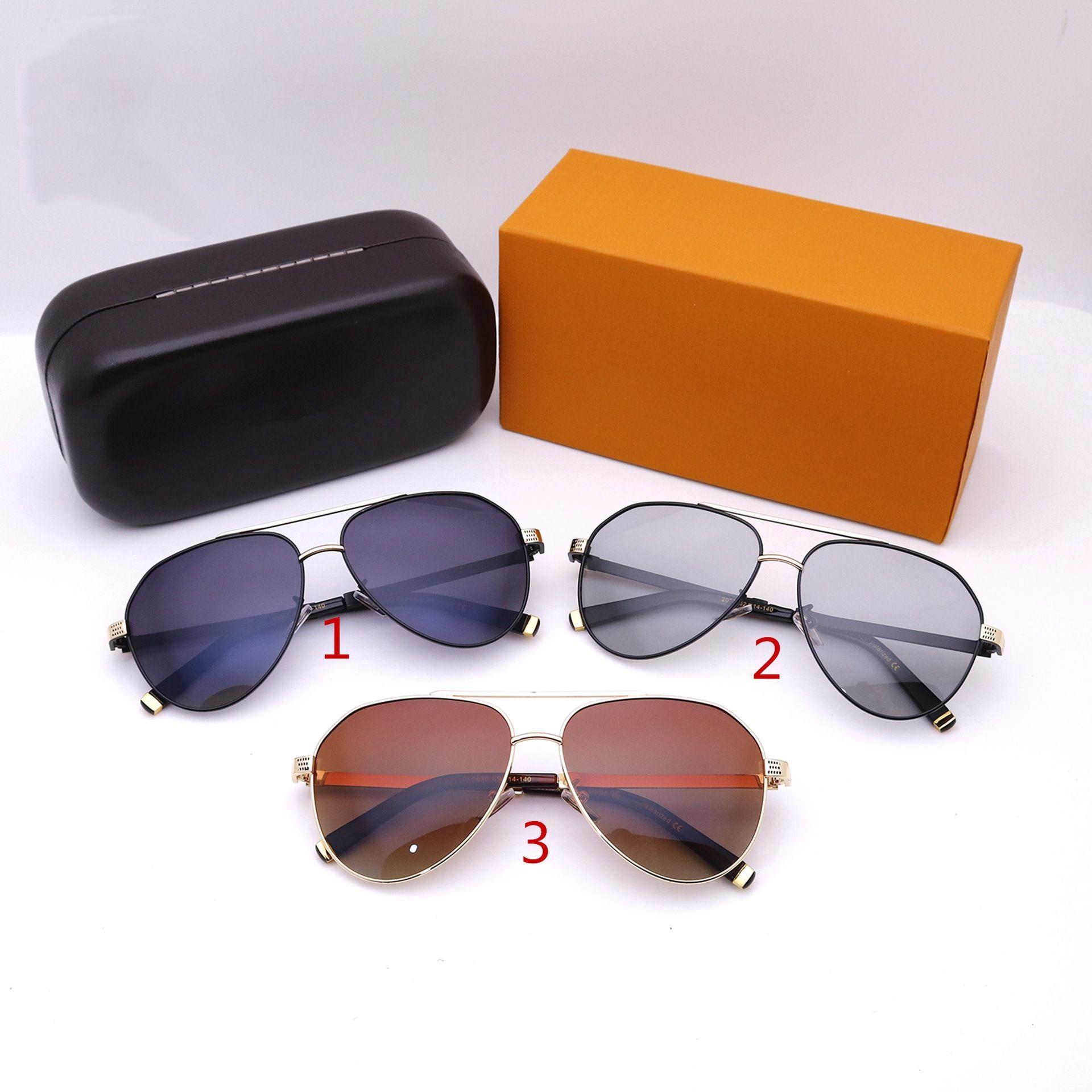 Moda Aviator Tasarımcılar Güneş Gözlüğü Lüks Yüksek Kalite Büyük Çerçeve Renk Değiştirme Sürüş Gözlükleri Erkekler ve Kadınlar Için Kutusu Ile