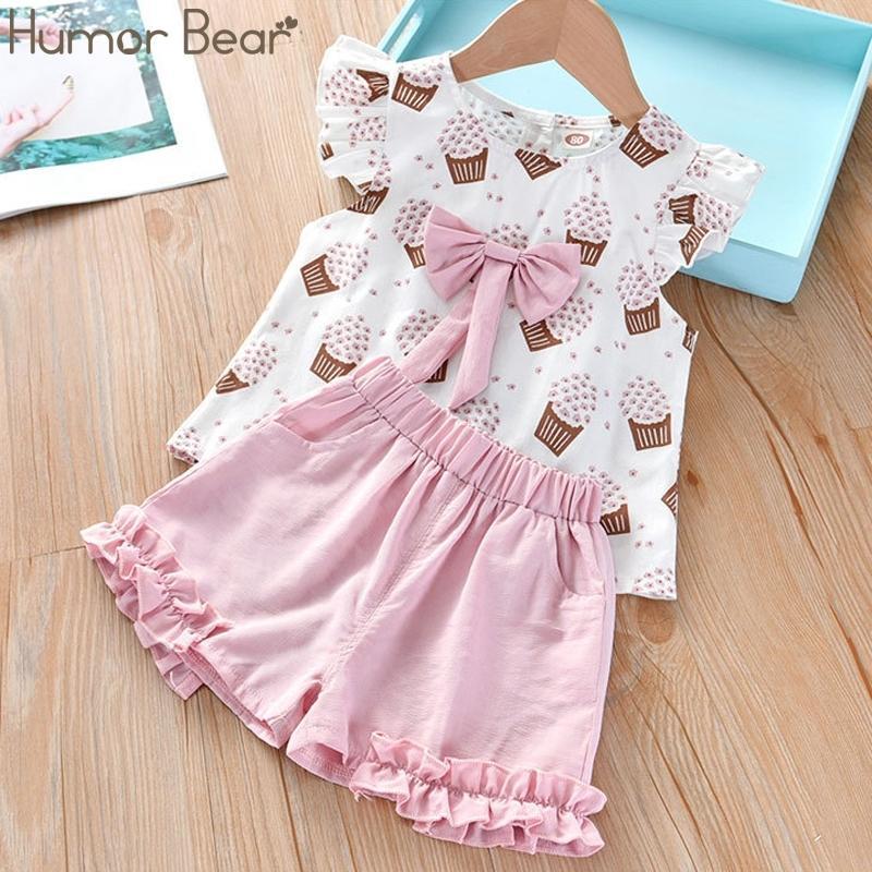 Юмор медведь девушки одежда набор корейских летних новых мороженых лук топ футболка + брюки детский костюм малышей детская детская одежда 201126