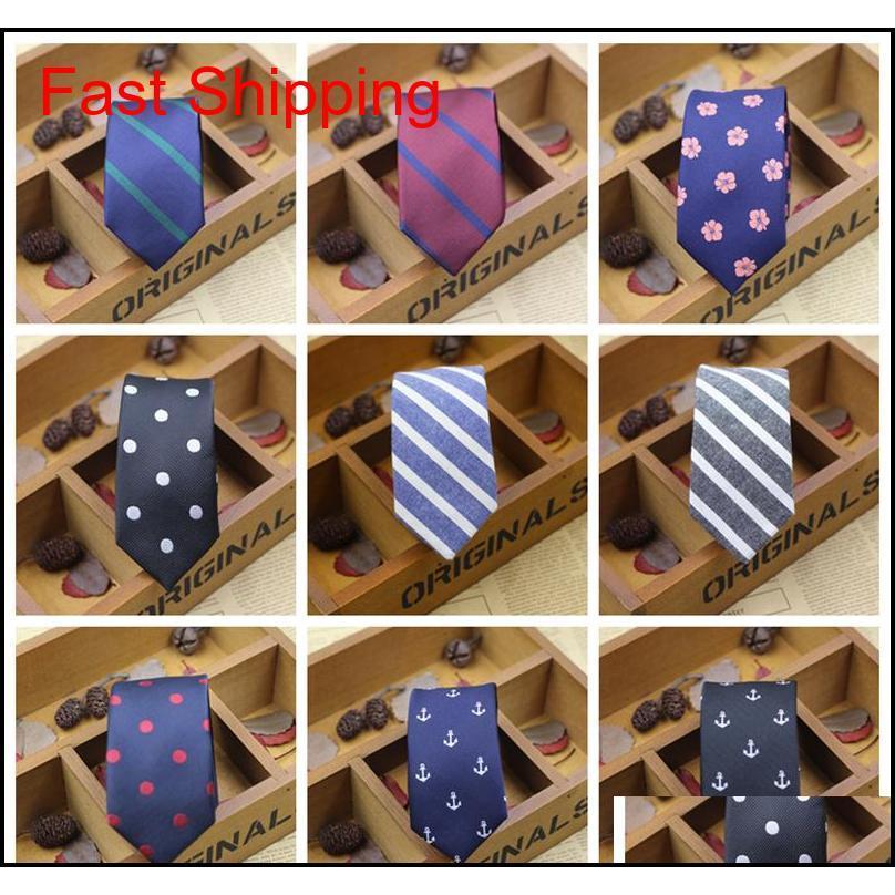 2016 Nuevos hombres 5 cm cuello de poliéster cuello de fibra corbatas nudos corbata moda moda diseño estrecho punteado extremo corbata arder cuello corbatas r9ewx