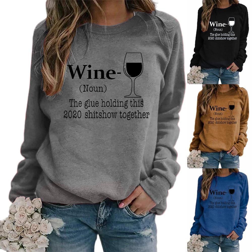 2020 autunno lettera bicchiere nuove signore vino abbigliamento stampa girocollo manica raglan pullover maglione caldo modello di vendita signore stampata maglione