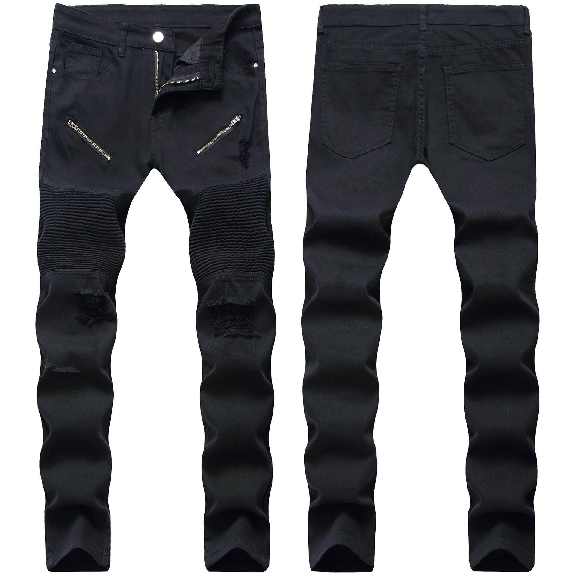Skinny Mens Black Jeans Cool Men Jeans Stretch Syl fit Denim Biker Jeans Hip Hop Men Streetwear 2018 #