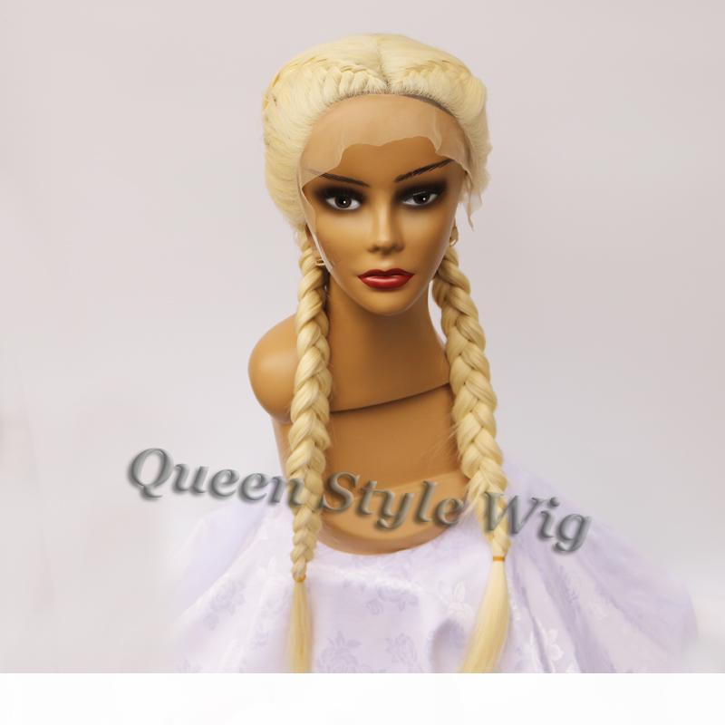 Kim K вдохновленные двойные голландские осенные парикмахерские парик Двухместный оплетки волос кружевной фронт фронт синтетические блондинки плетеные волосы шнурки переднего парика для женщины