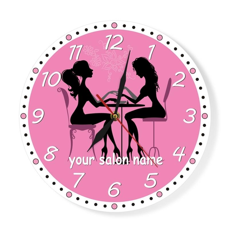 Manucure Salon Horloge mural Horloge à ongles Spa Spa personnalisé Horloge murale personnalisée Oeuvre personnalisée Pédicure Art Nail Studio Business Mur Art Décor Y200110