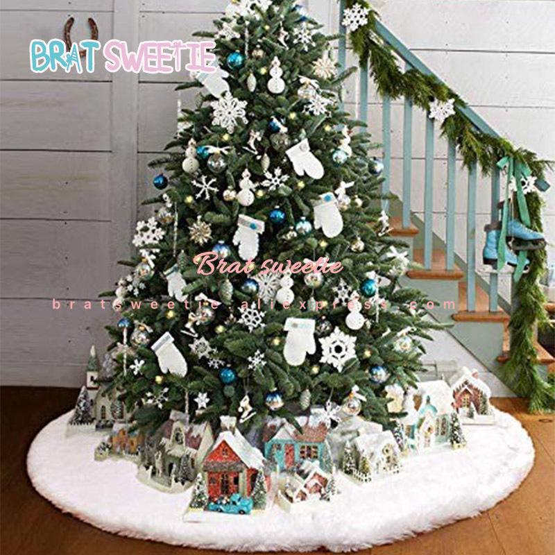 2020 White Plush Christmas Tree Skirt Aprons Christmas Tree Carpet Navidad Decorations for Home New Year Xmas Decor LJ201127
