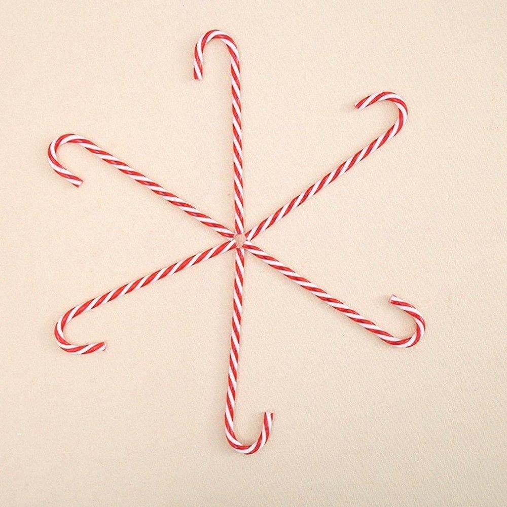 6pcs d'arbre de Noël Ornement d'arbre de Noël en plastique de canne de sucrerie Décoration Pendentif ornements de vacances Striped Candy Cane Sticks 8Kp4 #