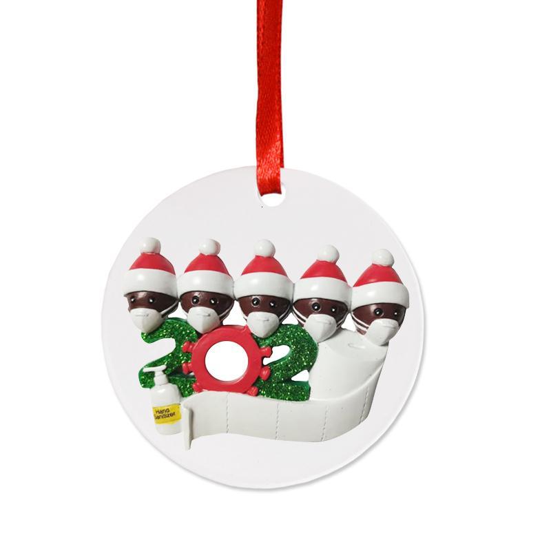 Рождественский орнамент 2020 елочных Карантин Поливинилхлоридные 8 Стилей персонализированные Выжили 7 Семью Украшения с маской для рук дезинфицировать