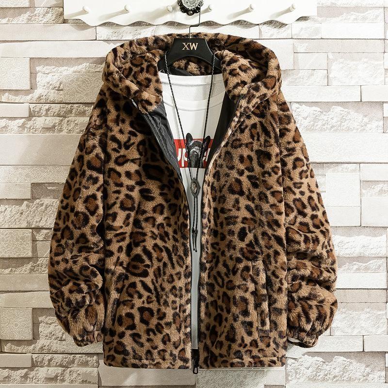 Мужские куртки 2021 Красивый зимний имитационный леопардовый принт куртки молодежь с капюшоном ZIP