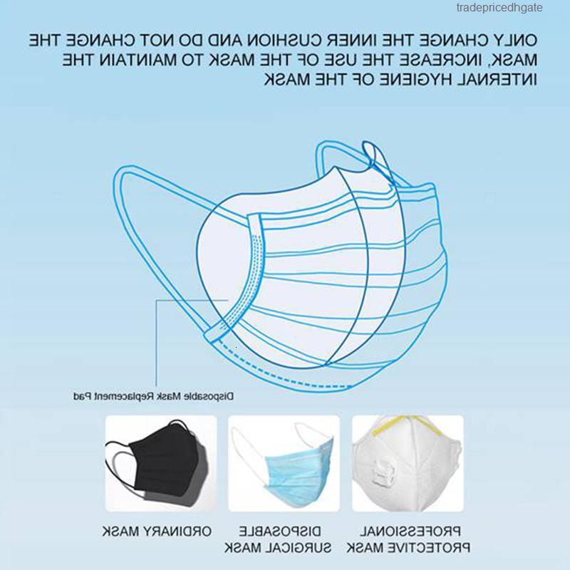 Austauschbare Anti 50pcs Filterscheiben Haze PM2.5 Mundmaske Drei-Scheibe Vlies aktiviert Kohlefiltero2w7