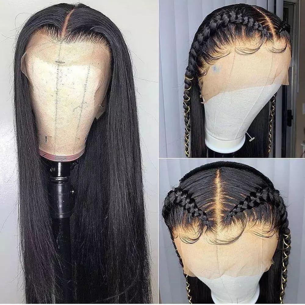 rendas reta perucas de cabelo humano frente para Mulheres Negras curta brasileiro Bob Remy longo frontal peruca 180 densidade hd peruca dianteira do laço completo
