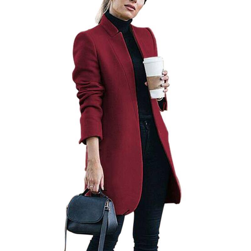 여성용 양모 쇼핑 야외 탑스 스탠드 칼라 솔리드 트렌치 숙녀 사무실 패션 슬림 피트 outwear 우아한 여성 코트 긴 겨울