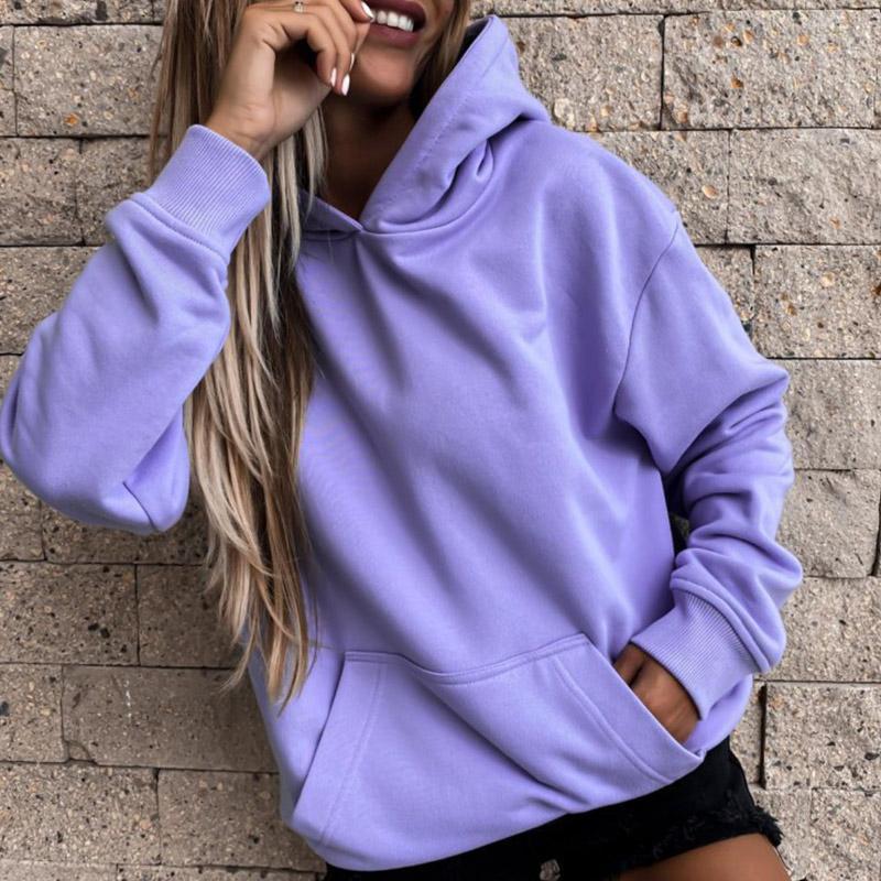 Automne à manches longues à capuche Sweatshirts pour femmes Poches violettes Lâche Sweats à Sweats à Sweats De Mode Streetwear Casual Dames Sweat-shirt