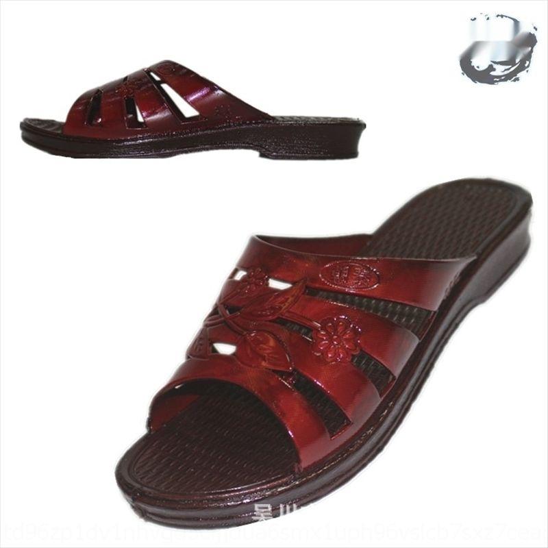 VcEli Nuovo soled molli tallone centrale per gli anziani in estate Nuovo soled molli pantofole tacco medio per le pantofole anziani in estate