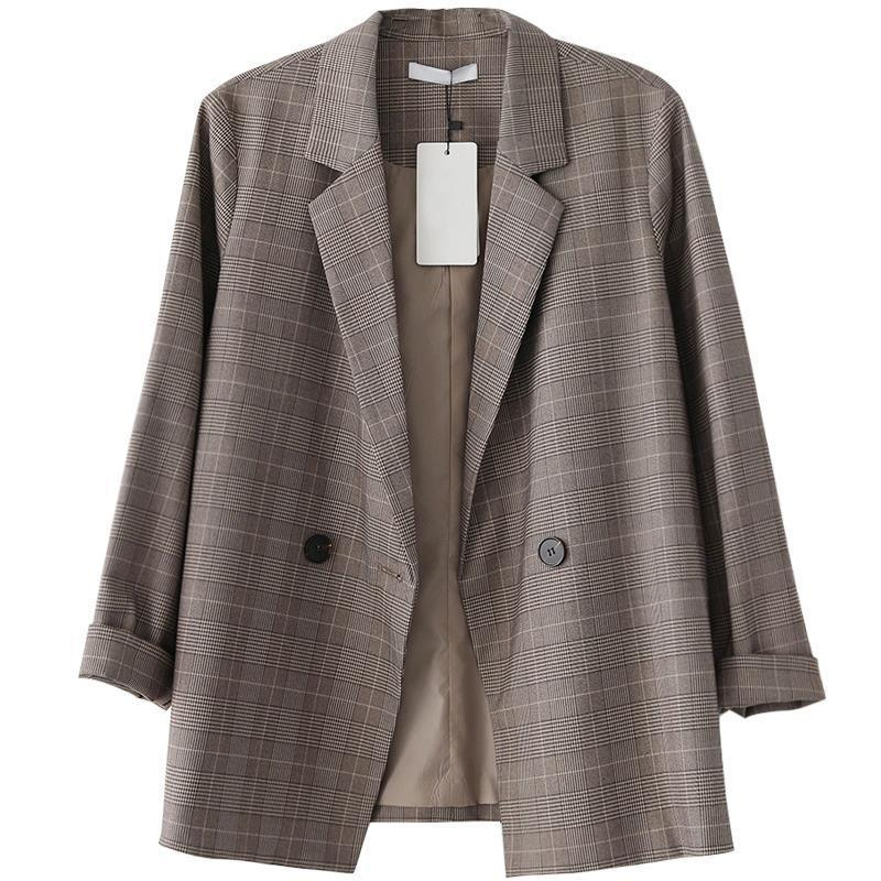 여성 브라운 격자 무늬 블레이저 코트 새로운 패션 레이디 사무 양복의 포켓 재킷 코트 캐주얼 느슨한 긴 소매 팜므 블레이저 201008 탑