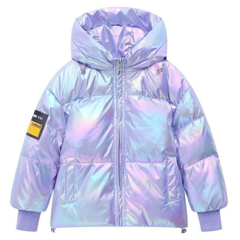 Sfor New Winter helle Farbe Laser-Jacke Jungen und Mädchen leuchten weiße Ente unten waschen frei Mantel