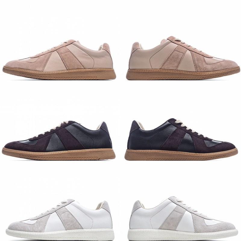 Top Quality Men Shoe Ins Exército Treinadores Moda Sneakers Casuais Mens de Couro Mulheres Esporte Clássico Retro Flats Viram sapatos de pele