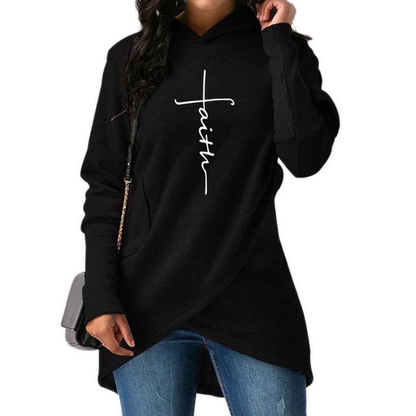 Yeni Faith Mektupları Kadınlar Bölünmüş Kazak Femmes için Hoodies yazdır Casual Kız Komik Clothings 201.007 Tops