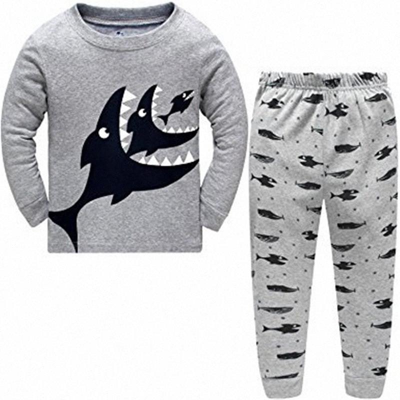 Niños dinosaurios Pijamas de las muchachas de los de algodón de manga larga a rayas ropa ropa de noche Nuevos modelos niños Homewear traje Boy Sets kQsX #