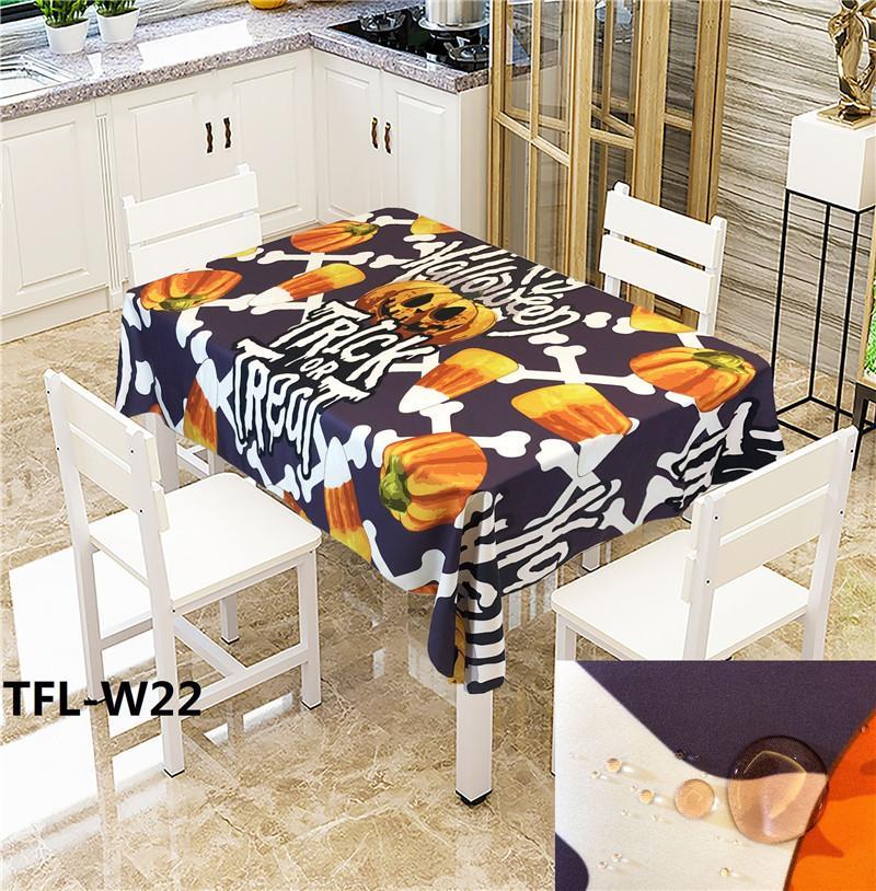 Halloween impresión mantel tela antiincrustante a prueba de aceite a prueba de agua antideslizante mesa de mesa casera hotel restaurante bar debe tela de mesa