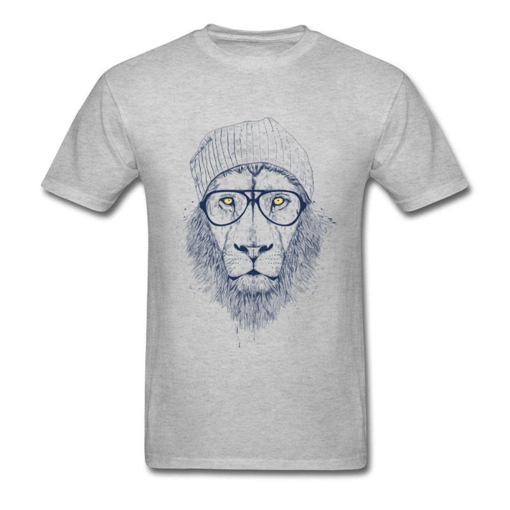 Funky Hipster Leone Geek girocollo adulti High Street supera i T Sport Felpa con cappuccio degli uomini della maglietta della maglietta breve estate manica Autunno