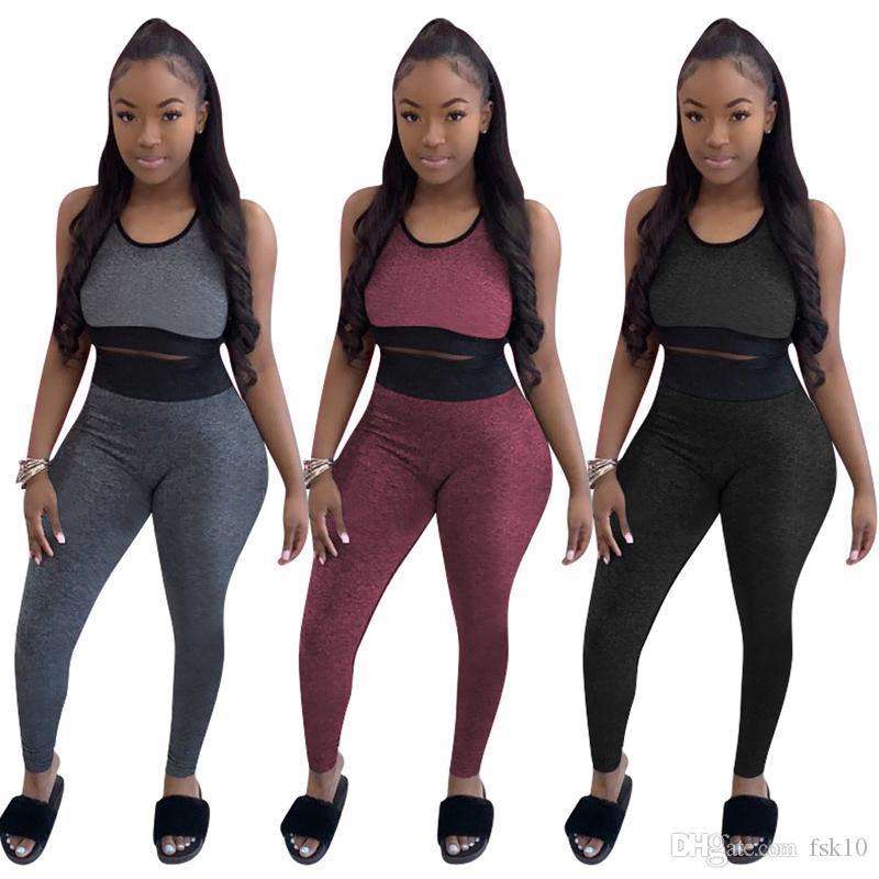 Женская I-образный жилет высокой талии брюки Спортивный набор Elastic Тренажеры Обрезанные Top Solid Color Tight осень Брюки Йога Спортивная
