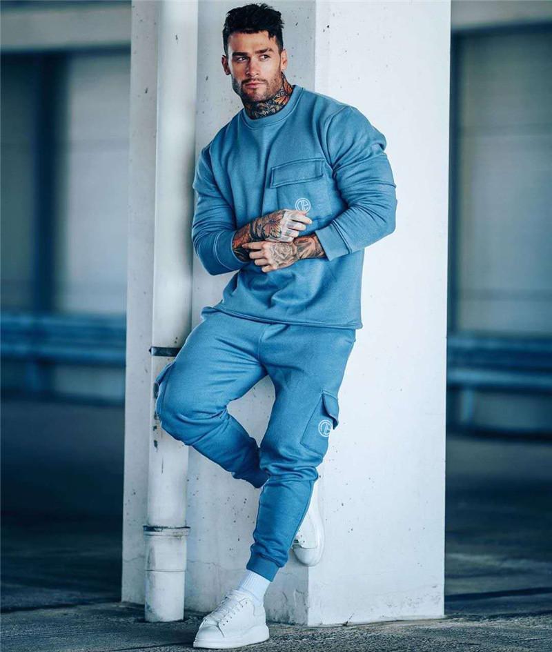 Autunno inverno nuovo uomo vestito da uomo in 2 pezzo maglione + pantaloni jogging fitness sportswear pullover alla moda casual set