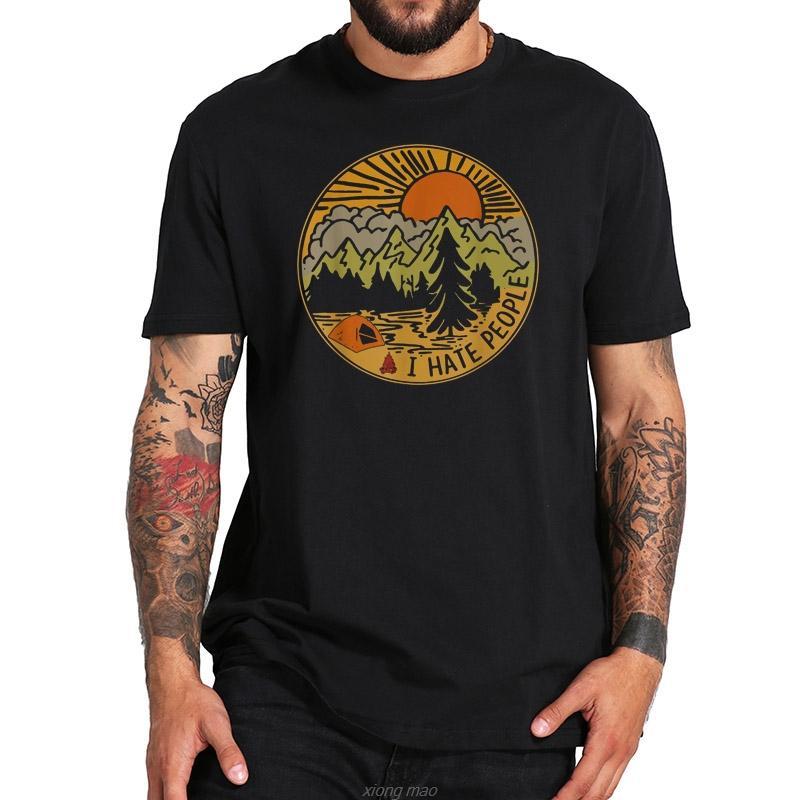 % Je déteste les gens aiment le camping drôle randonnée rétro Tshirt numérique Imprimer le sport équipage confortable cou hommes Sweat à capuche Hoodie t-shirt