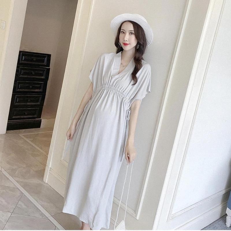 Verano con cuello en v cómodos mujeres embarazadas vestido batwing manga cordón cintura maternidad imperio vestido de algodón más tamaño ropa szm1 #