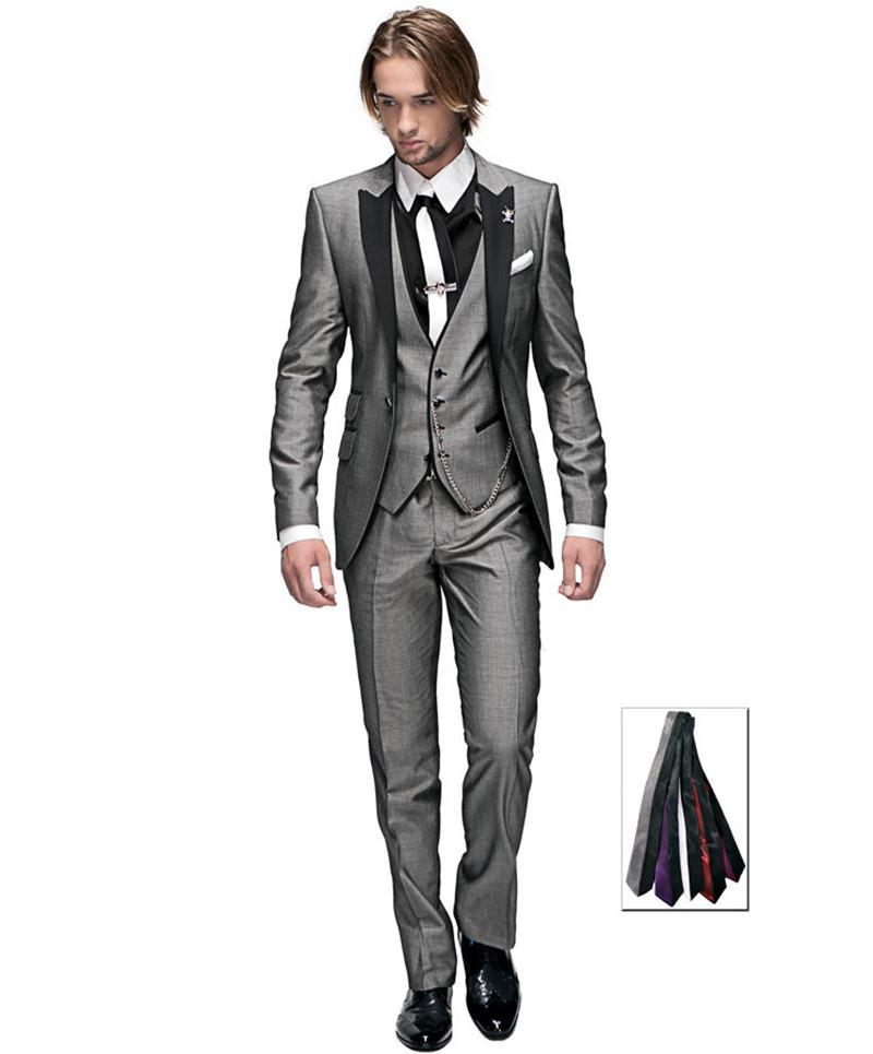 New Hot Selling Light grey One button Peak Lapel Groom Tuxedos Groomsmen Men Wedding Blazer Suits Prom Clothing (Jacket+Pants+Vest+Tie) 695