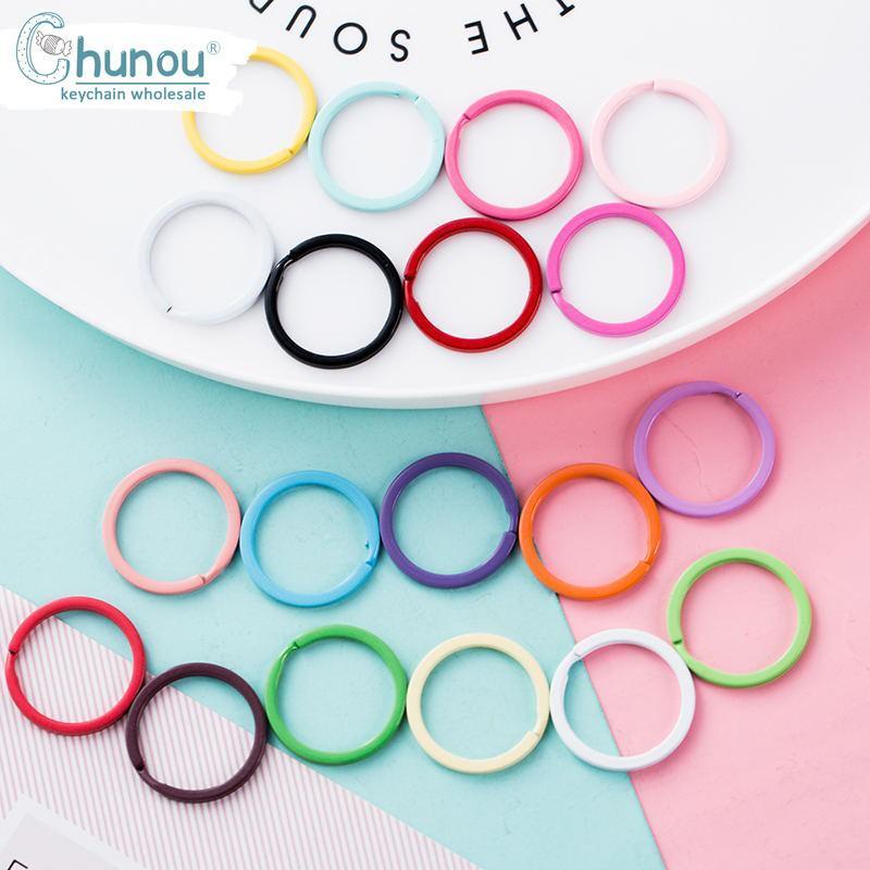 20PCS / Lot 32 millimetri colorato vernice spray portachiavi portachiavi in metallo Split Ring colori Candy Portachiavi Portachiavi per DIY portachiavi Accessori