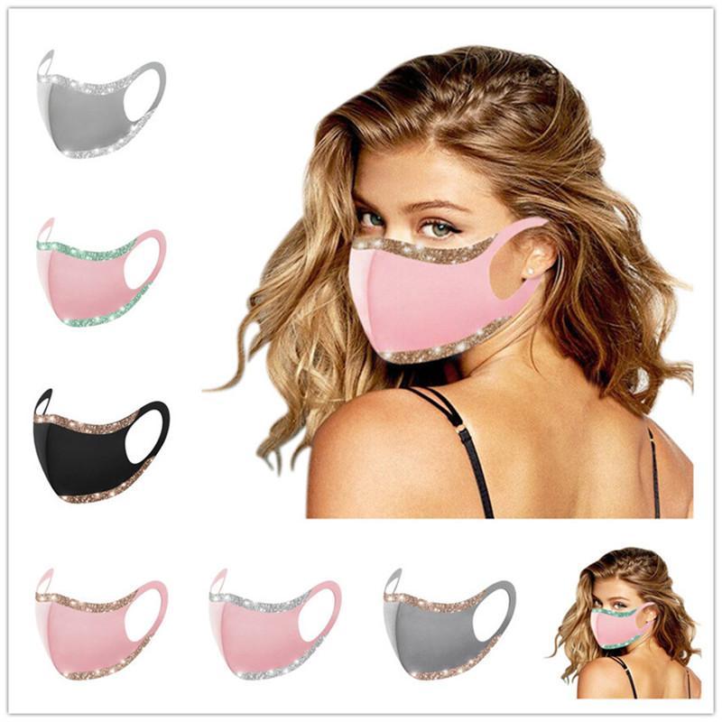 Bling di modo di scintillio della maschera di Solid maschere di protezione di colore lavabile riutilizzabile bocca donna in bicicletta antipolvere del partito del randello della copertura della mascherina F102101