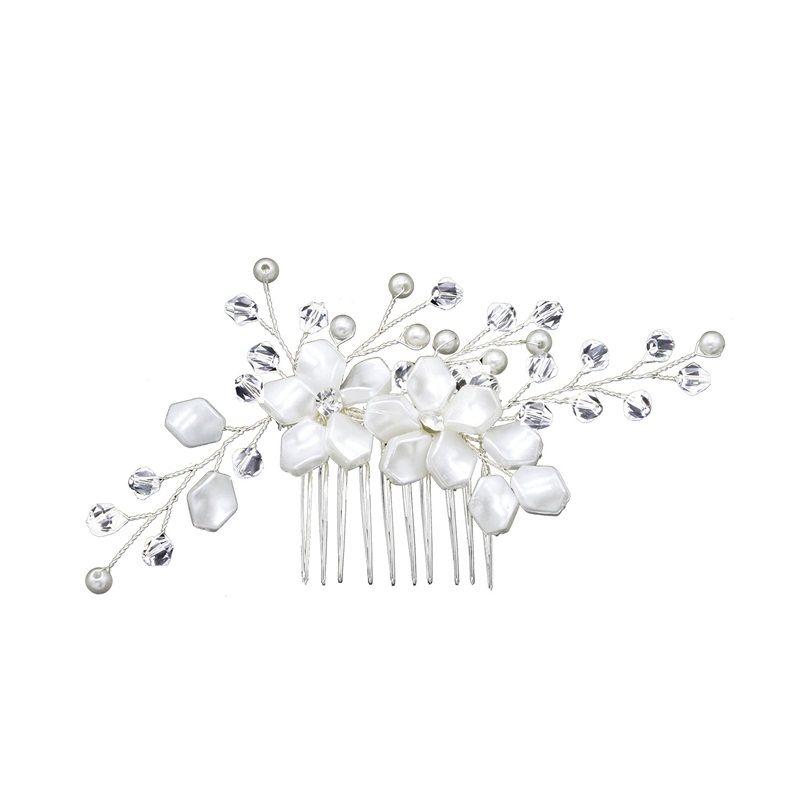 Brides Matrimonio Bianco Pearle Capelli Pettine Accessori da sposa Bride Aggiornamento Interposizione Combs Combs Flower Modeling Headwear Vendita calda 7 5ml L1